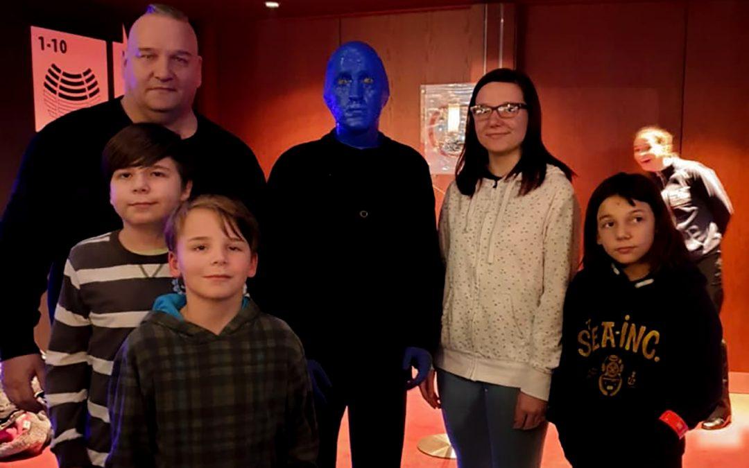 Ausflug zur Blue Man Group für Familie C.