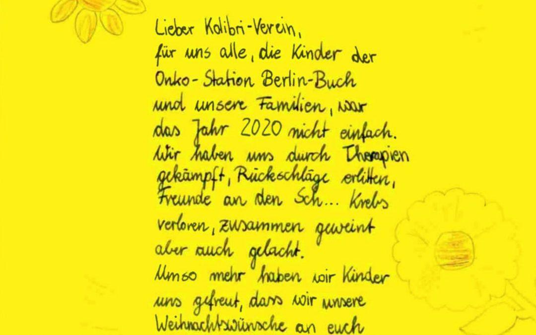 Ein Brief von der Kinderkrebsstation